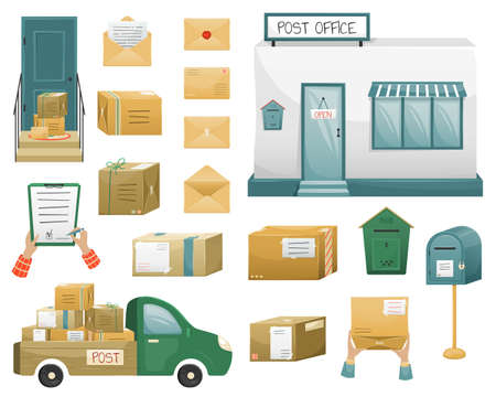 set of Vector illustrations of postal parceles in boxes with a delivery address and envelopes, mailboxes, post office and mail truck. Mail delivery.