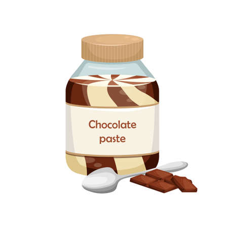 Vector illustration of a can of chocolate paste. Sweet snack. Chocolate-nut paste.