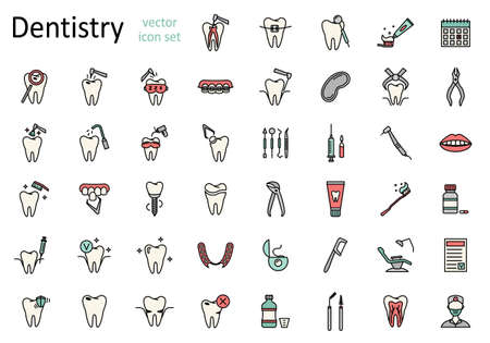 Set of line dentistry icons. Dental flat vector elements.