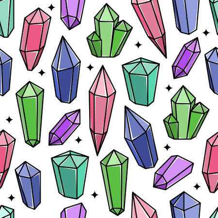 Vector seamless pattern with magic crystals.