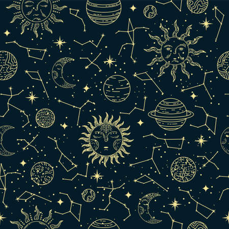 Vector seamless astrological pattern with planets, sun, moon, stars and constellations.