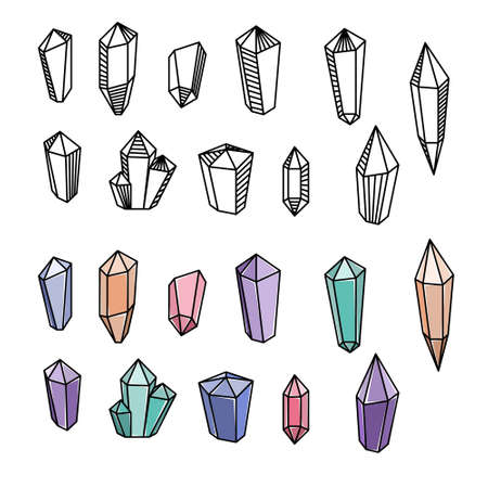Set of vector magical crystals. Line art. Mystery, witchcraft.