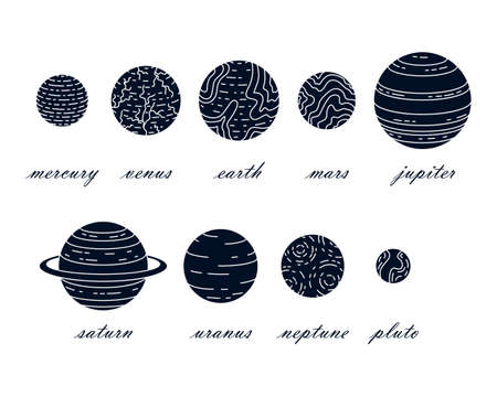 Set of vector planets. Astrology, astronomy. Mystery science.