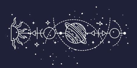 Mystical astrological vector illustration. Magic symbols. Zodiac. Astronomy. Line art illustration.