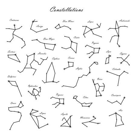 Vector set of constellations. Astrology, astronomy. Mystical symbols. Andromeda, Cepheus, Hercules, Orion, Cassiopeia