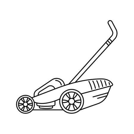 The black line lawnmower icon. Garden icon. Vektorgrafik