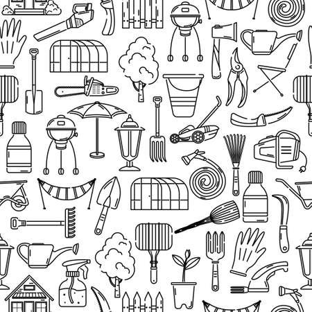The vector seamless pattern with garden tools. Background.