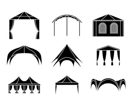 Vector set of event tent illustrations. Simple style. Vektorgrafik