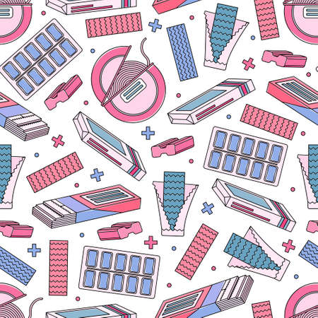 Color seamless pattern with chewing gum. Style of the 90s Imagens - 164469725