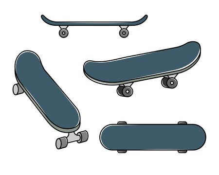Vector set of skateboards. Extreme youth sport. Line art and simple style. Ilustração
