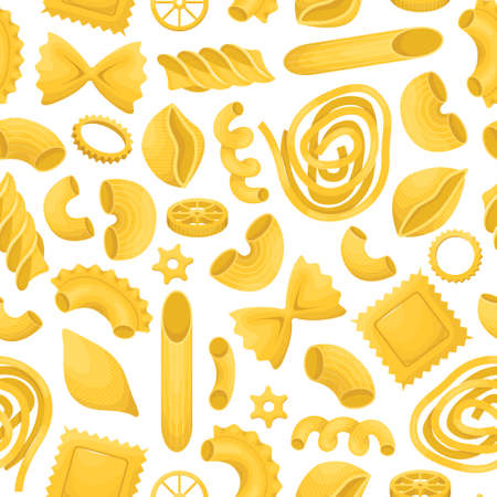 The vector seamless pattern with different types of italian pasta.