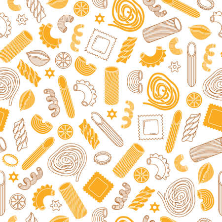 The vector seamless pattern with different types of italian pasta. Line art.