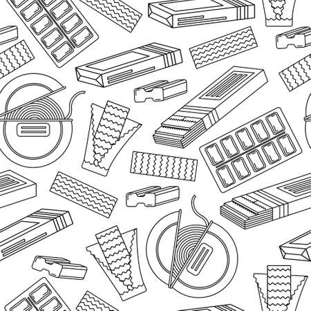 Monochrome seamless pattern with chewing gum. Line art