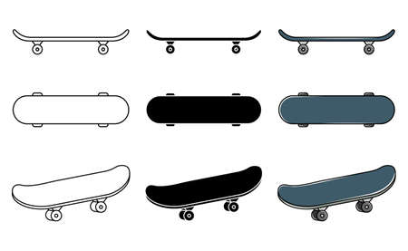 Vector set of skateboards. Extreme youth sport. Line art and simple style.