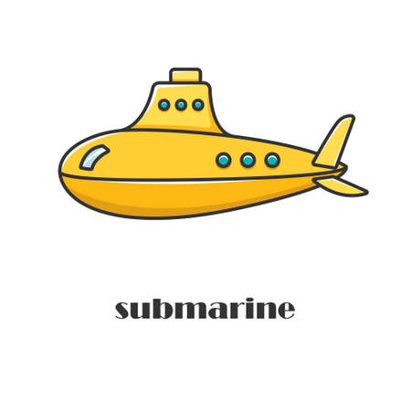 Vector illustration of the yellow submarine. Military vessels. The Navy.