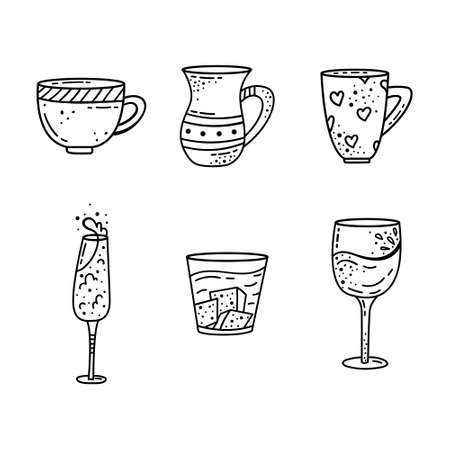A set of mugs in doodle style. Coffee cup, tea mug, wine glass, champagne glass, whiskey and brandy glass.