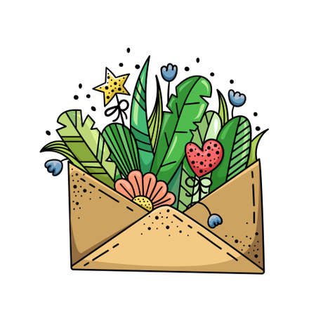 Doodle illustration with wildflowers in an envelope. Flower arrangement, template for design.