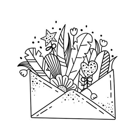 Doodle illustration with wildflowers in an envelope. Flower arrangement, template for design. Imagens - 164969902