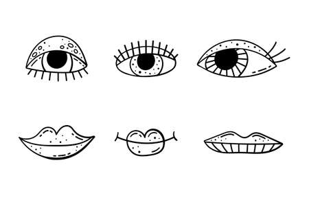 Set of doodle illustrations of cartoon eyes and lips. Beautiful eyes with lashes, bright painted lips.