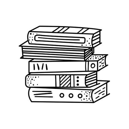 A stack of doodle-style books. Reading books, library, bookstore.