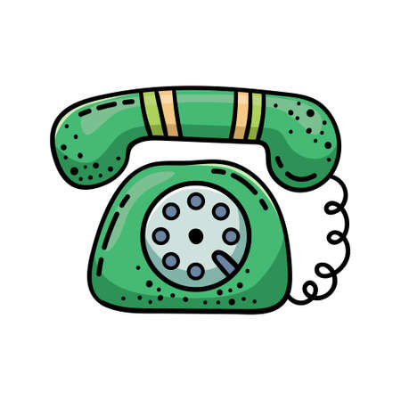 Doodle illustration of a phone in a retro style. Cartoon illustration.