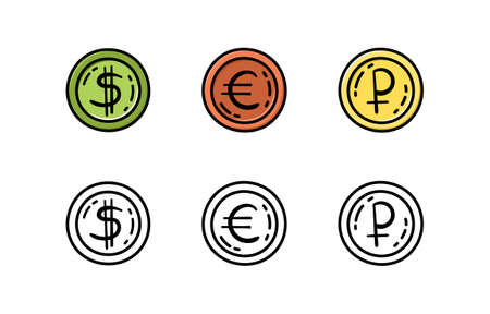 A set of coins in the doodle style. Euro, dollar, ruble. Money.