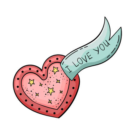 Doodle of beautiful heart illustrations. Valentine card. Template for the design. Imagens - 164969423