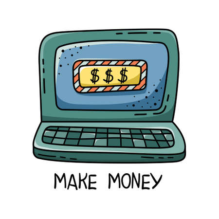 Doodle of illustrations of making money on the Internet. A laptop for work. Freelance.