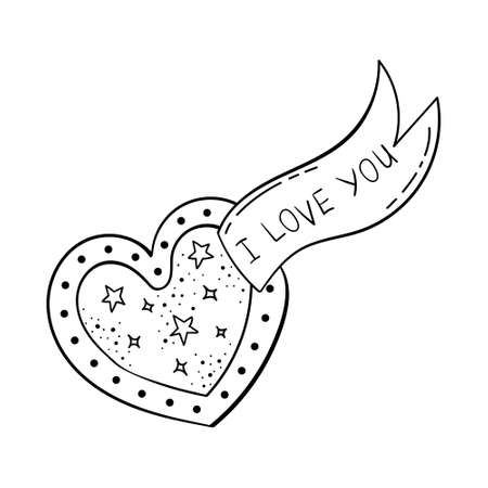 Doodle of beautiful heart illustrations. Valentine card. Template for the design.