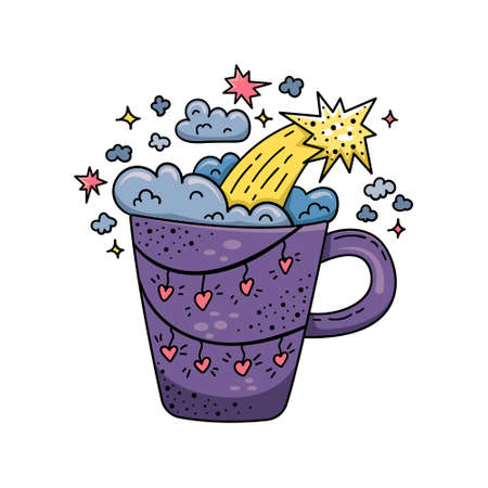 Doodle illustration of a magic cup with stars and clouds. Cartoon illustration. Ilustração