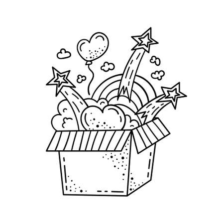 Doodle illustration of a magic box with hearts, clouds and rainbows. Cartoon illustration. Ilustração