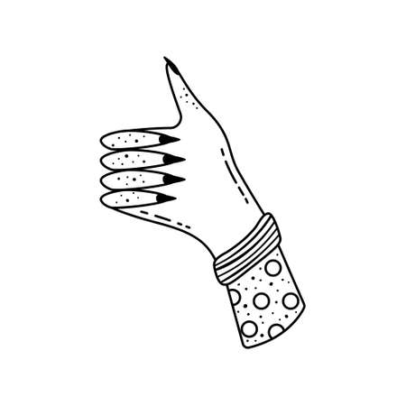 Doodle of illustrations of a female hand with a raised finger up. An approving sign.