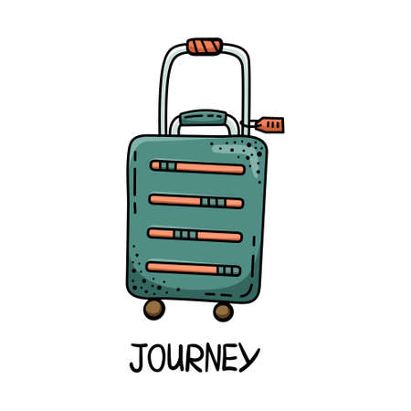 Doodle illustration of the travel bag with the tag. Journey. Rest, vacation.