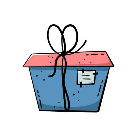 Doodle illustrations of beautiful gift boxes. A gift packed in a beautiful box with a ribbon.