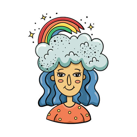 Doodle illustration of a magical girl with clouds and a rainbow on her head. Cartoon illustration.