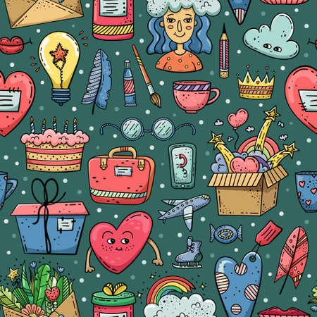Hand drawn vector seamless pattern with doodles illustrations. Decorative background.