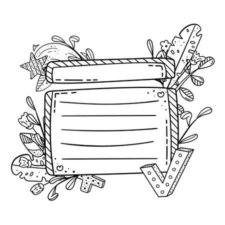Vector doodle frame for design. Creative doodle illustrations. Template with a place for text.