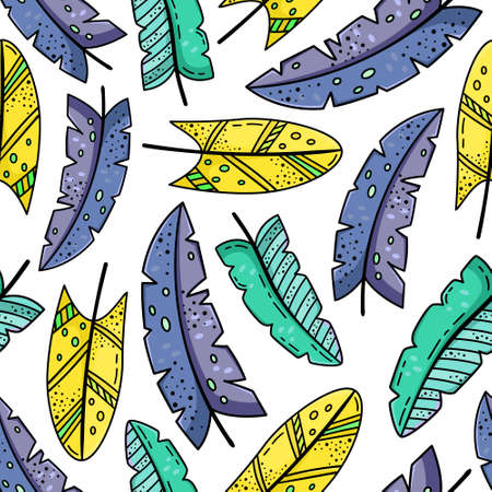 Hand drawn vector seamless pattern with doodles illustrations. Creative feathers. Decorative background. 矢量图像