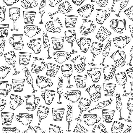 Hand drawn vector seamless pattern with cups and glasses. Decorative background. Ilustração