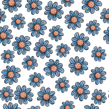 Hand drawn vector seamless pattern with doodles illustrations. Blue flowers with petals, daisies. Decorative floral background. Ilustração