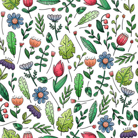 Hand drawn vector seamless pattern with doodles illustrations. Flowers and plants. Decorative floral background.