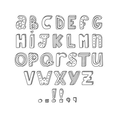 Vector English alphabet with hand-drawn letters with stripes and dots. typography set