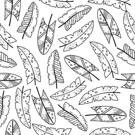 Hand drawn vector seamless pattern with doodles illustrations. Creative feathers. Decorative background. Ilustração