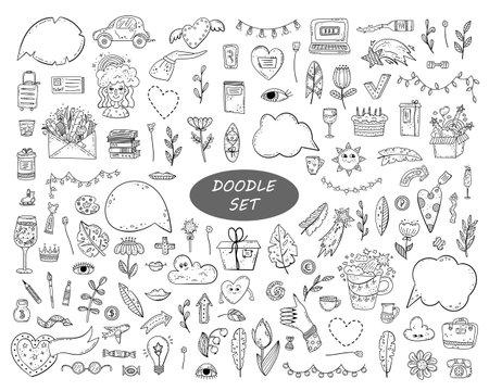 Hand drawn vector doodle set. Decorative illustrations. Design elements. Vettoriali