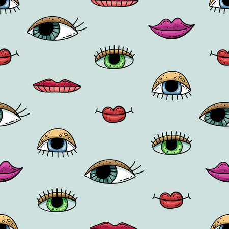Hand drawn vector seamless pattern with doodles illustrations. Eyes and lips. Decorative background.
