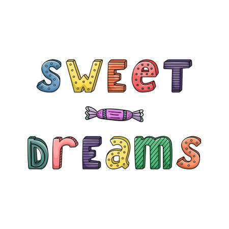 Vector hand-drawn lettering with stripes and dots. Sweet dreams