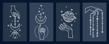 Set of mystical astrological vector illustrations. Magic symbols. Zodiac. Astronomy. Line art illustrations. 矢量图像