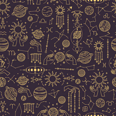 Vector seamless astrological pattern with planets and constellations. 矢量图像