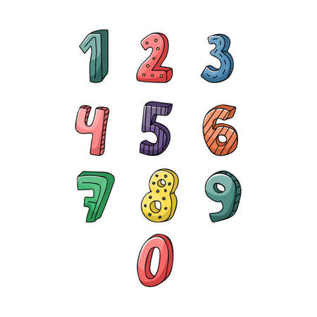 The set of the creative hand drawn numbers in childish style.