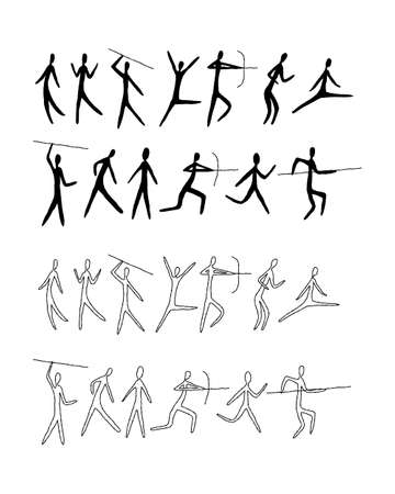 A set of man from rock art. Prehistoric drawings Simple style, line art. Outline. 矢量图像